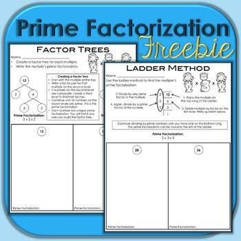 Prime Factorization Freebie Prime Factorization Prime Factorization Worksheet Prime Factorization Activity