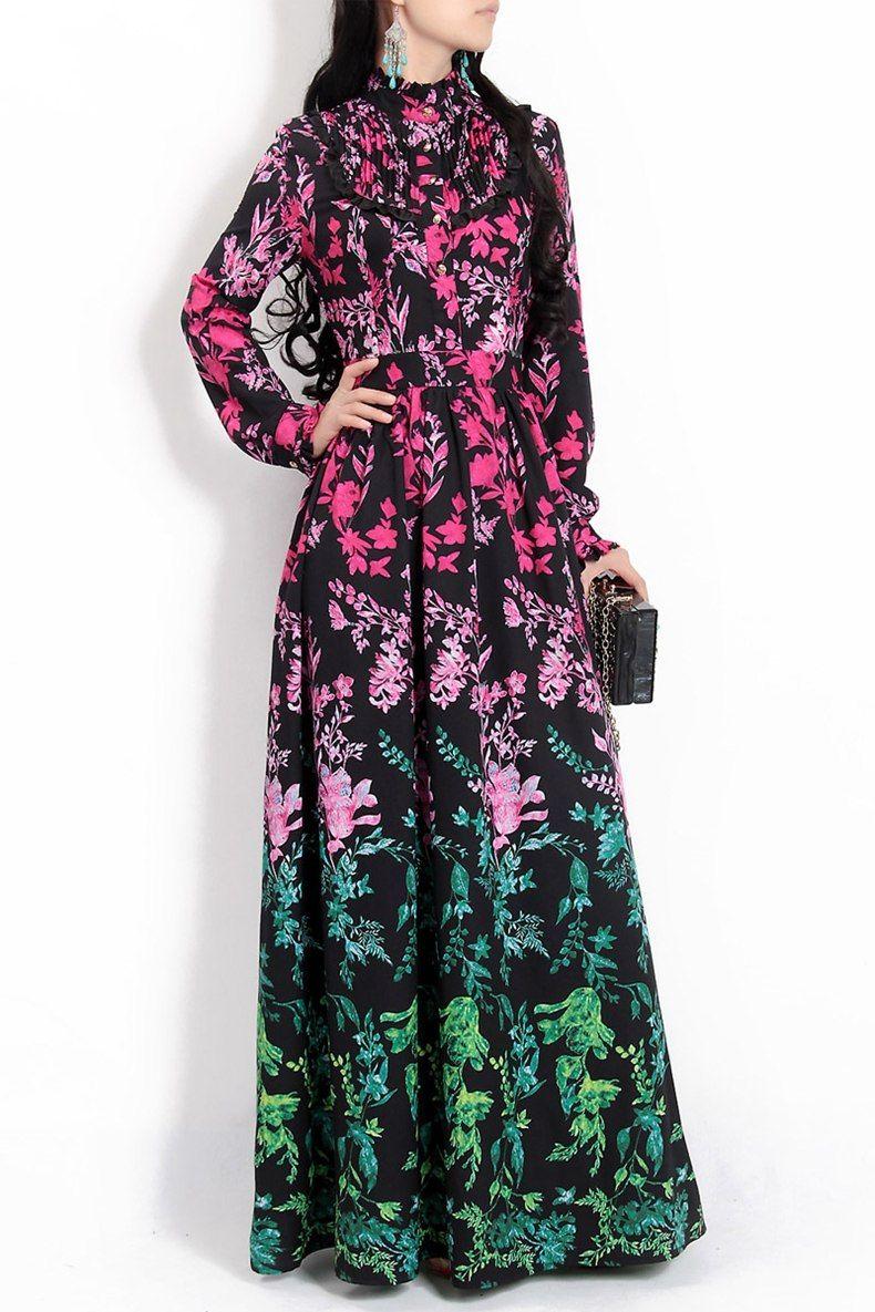 d4bc467b847 2018 new designer fashion runway Maxi dress Women long-sleeved floral print  pleated Ruffles vintage long dress High quality