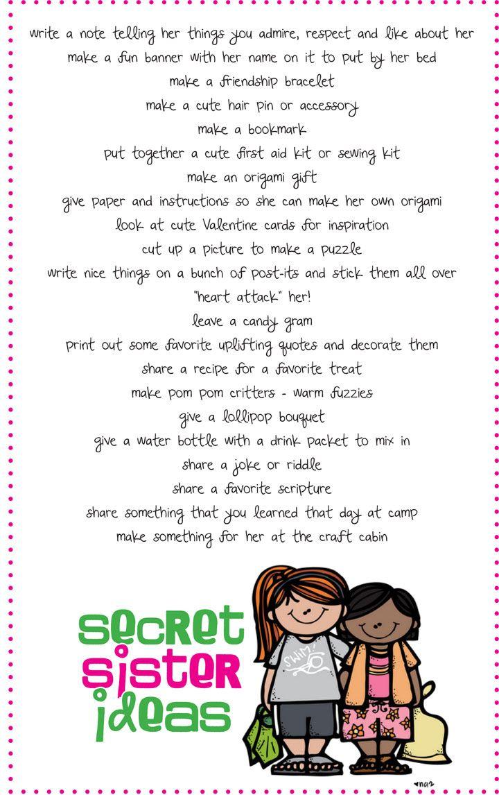 Secret Sister Ideas For Girls Camp Girls Camp Brownie