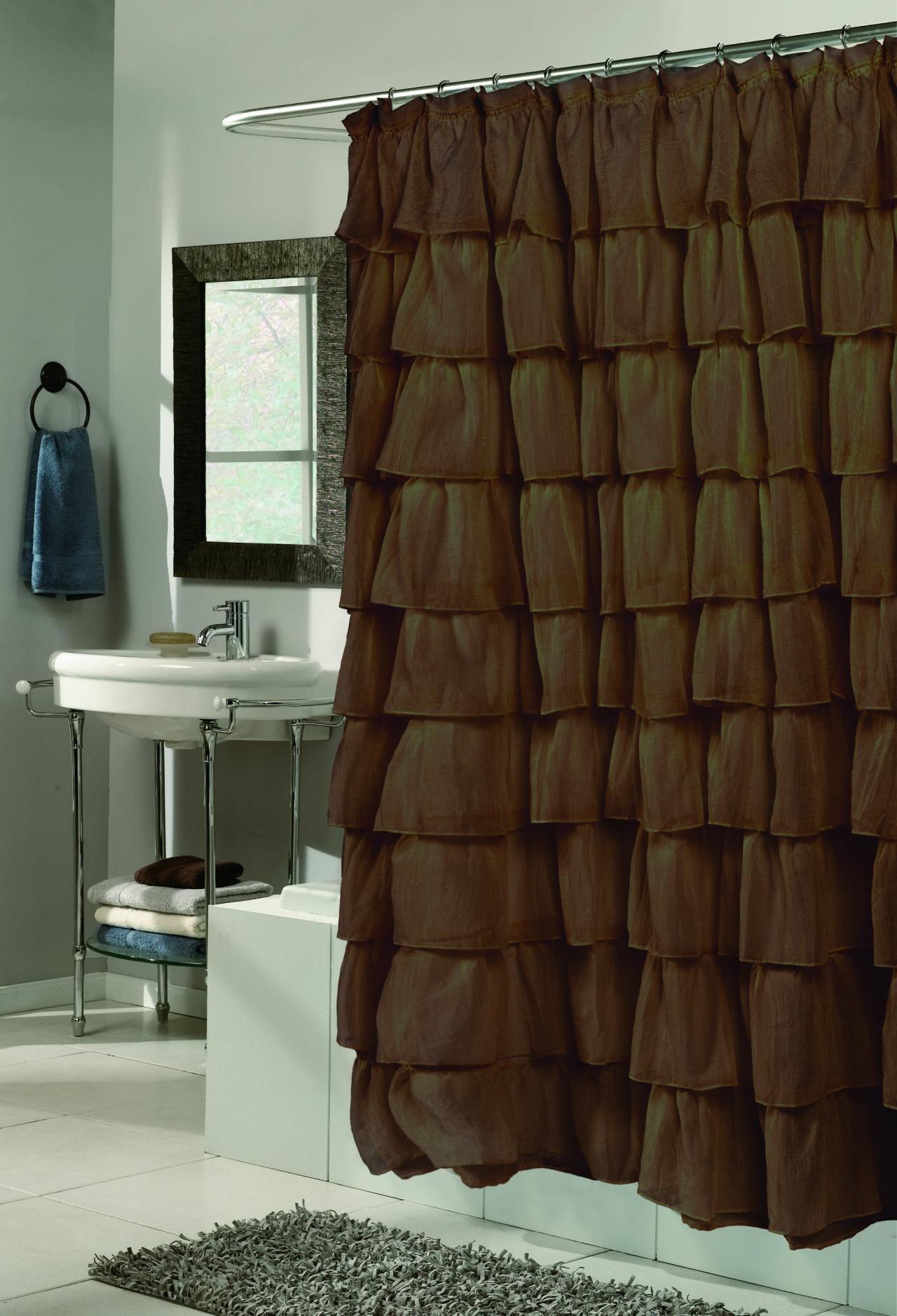 Dark Brown Ruffle Shower Curtain