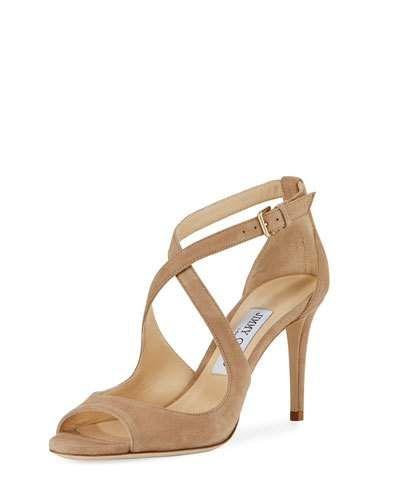 ab380d7179aa Jimmy Choo Emily Suede Crisscross 85mm Sandal