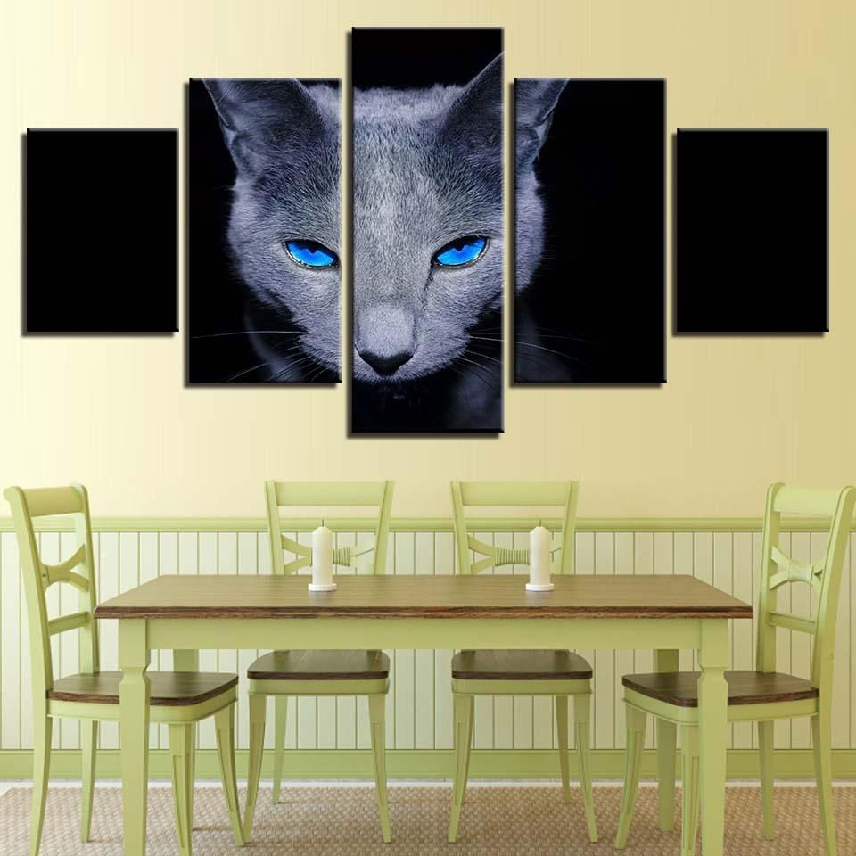 Gray Cat Blue Eyes Kitten Wall Art Print on Canvas Framed Unframed ...