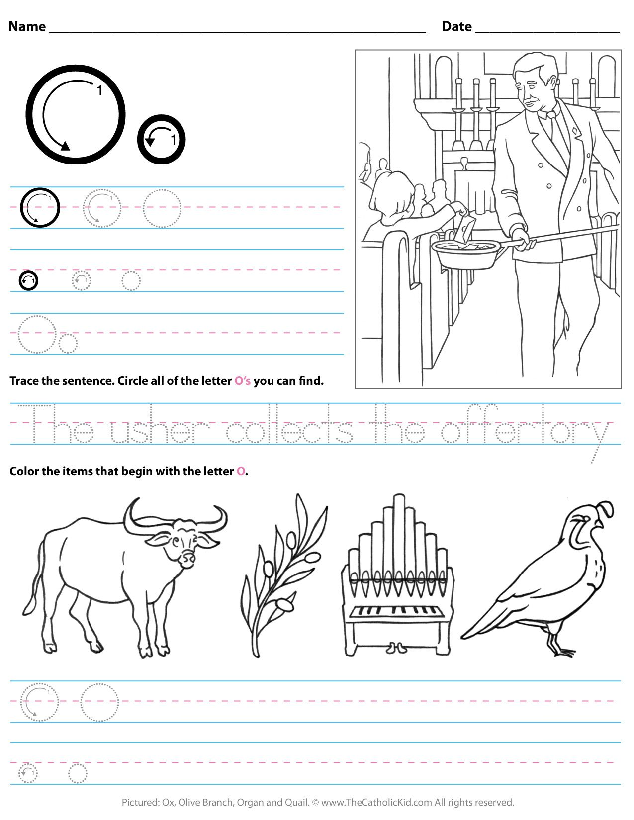 Catholic Alphabet Letter O Worksheet Preschool