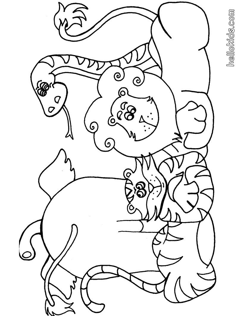 Wild animal coloring page. More Africain animals coloring