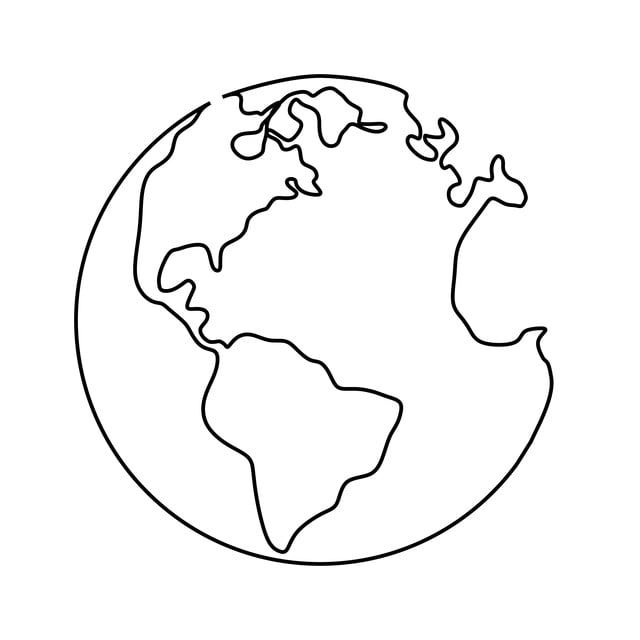 Continuous Line Drawing Of Earth Globe Isolated On White Background Minimalism Concept Illustration Earth Vector Png And Vector With Transparent Background F Desenho Em Linha Continua Producao De Arte Coisas Para
