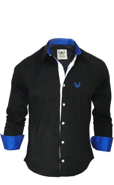 17dca17be8f62 camisa social masculina preta com azul - Pesquisa Google