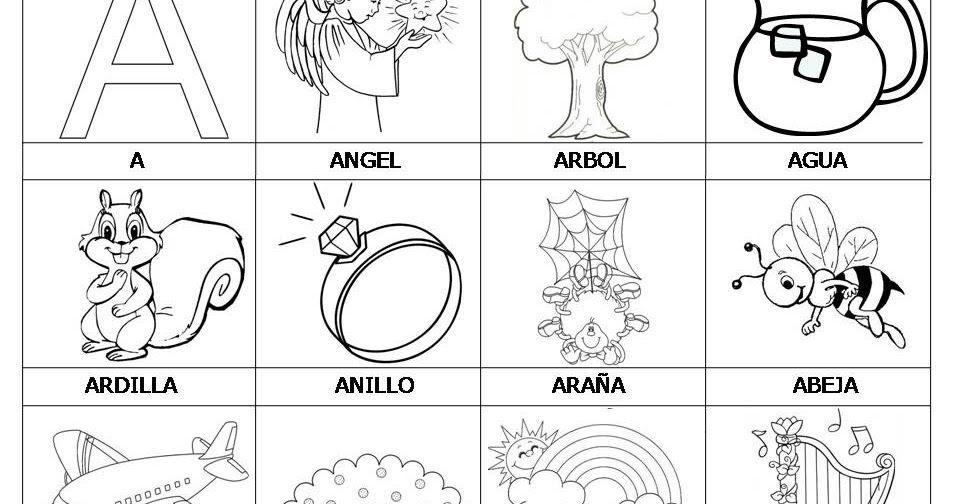 Les comparto láminas para colorear con palabras del alfabeto, que ...