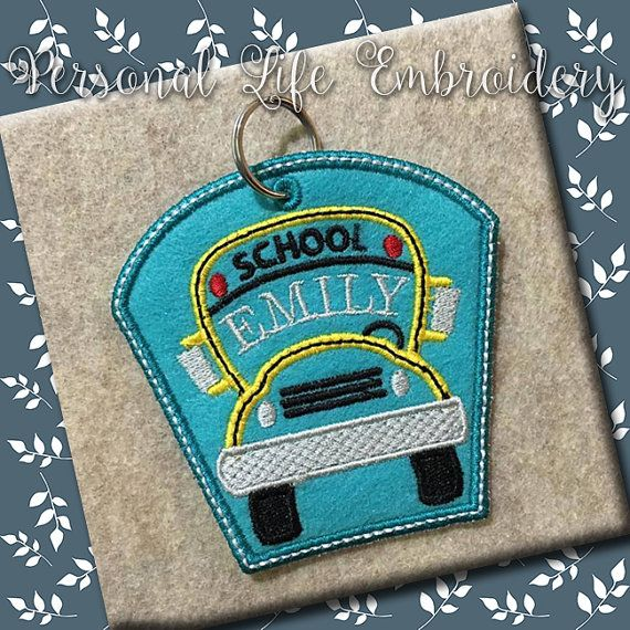 ITH School Bus Backpack Keychain Zipper Pull Christmas Gift