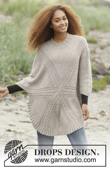 10aa853f6f69 Knitted DROPS jumper worked in a circle with cables in Puna. Size  S -  XXXL. Free pattern by DROPS Design.