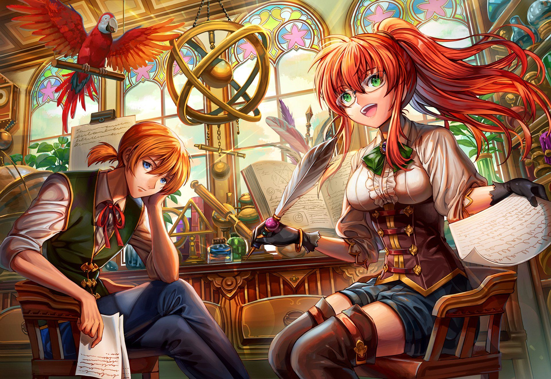 Anime original girl boy blue eyes orange hair red hair green eyes wallpaper