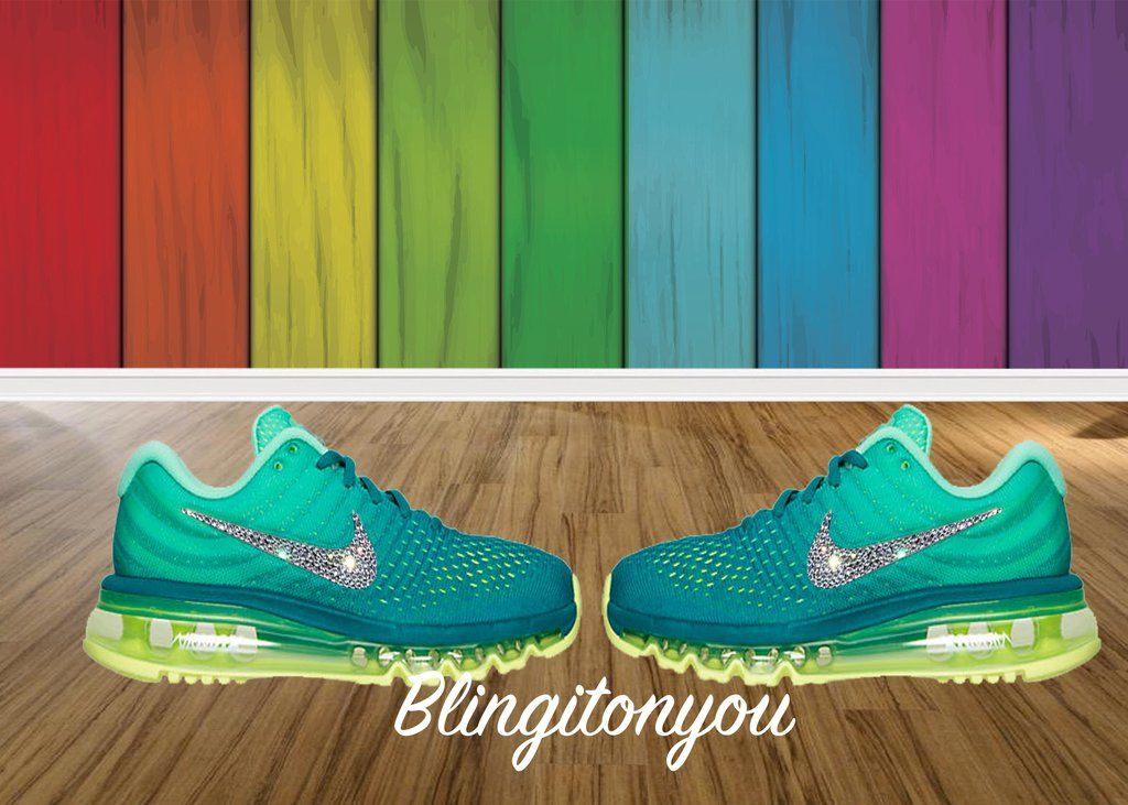 Blinged Women s Green Nike Air Max 2017 Shoes Bedazzled with Swarovski  Crystals 46ff95d1e