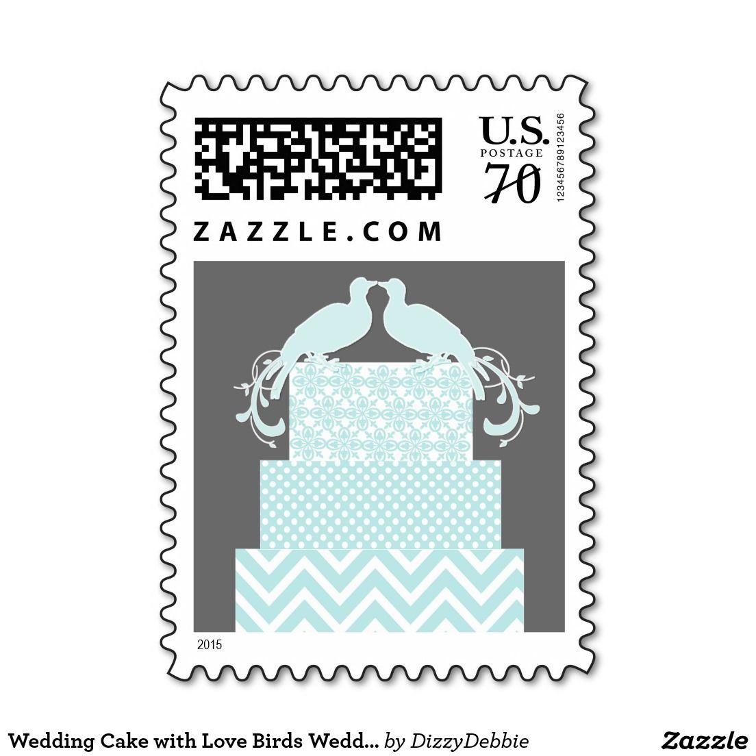 Wedding Cake with Love Birds Wedding Stamp