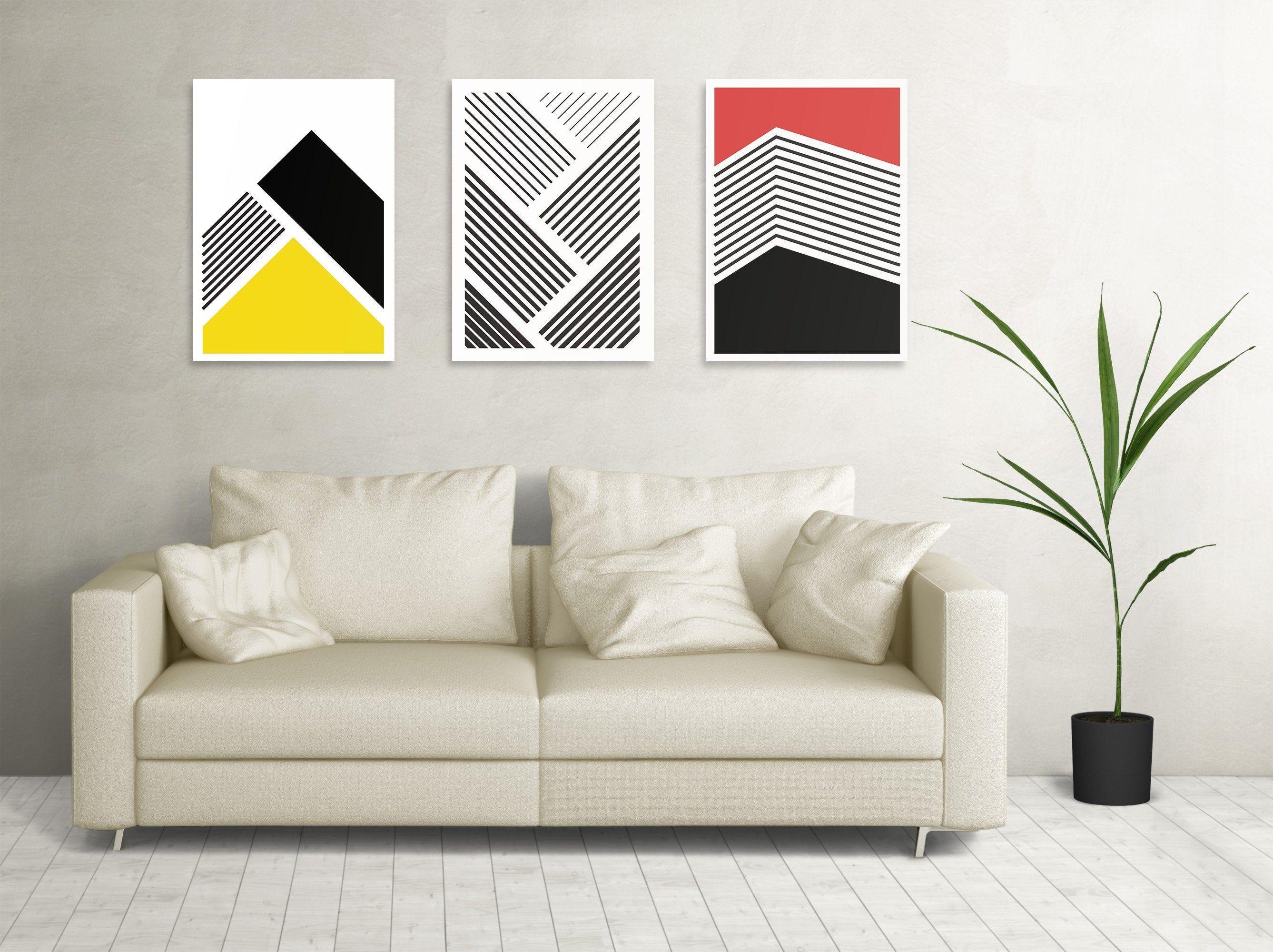 Set 3 Geometrische Lineart Streifen Linienbilder fürs Büro / Studio / Loft / Wohnzimmer - Direkt Digitaler Download druckbar herunterladen von PrintfulPoetry auf Etsy