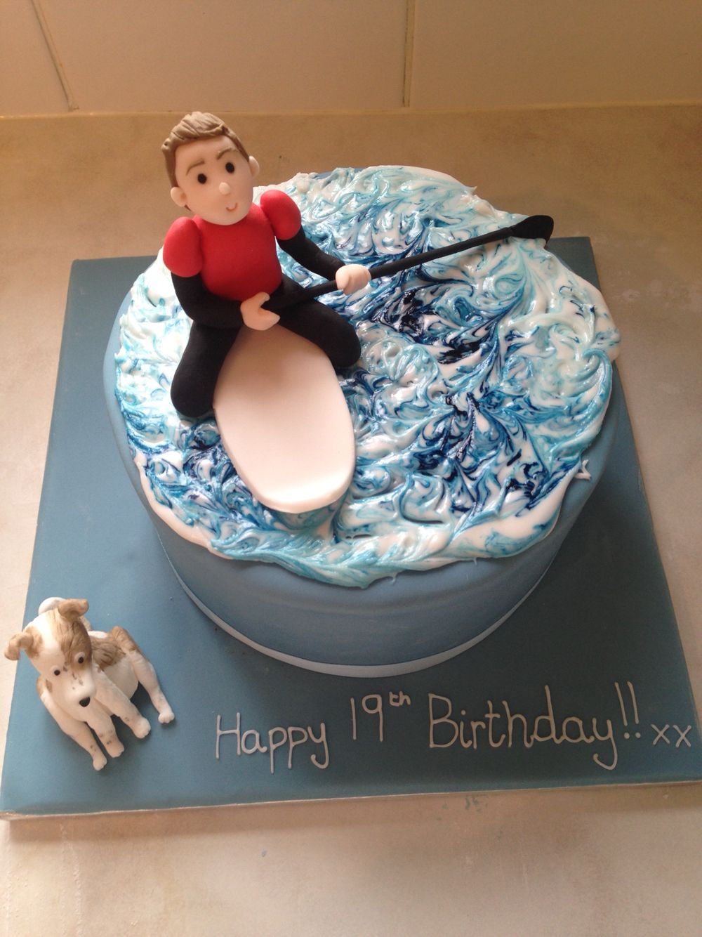Stand up paddle board ornament - Brothers Stand Up Paddle Boarding Cake