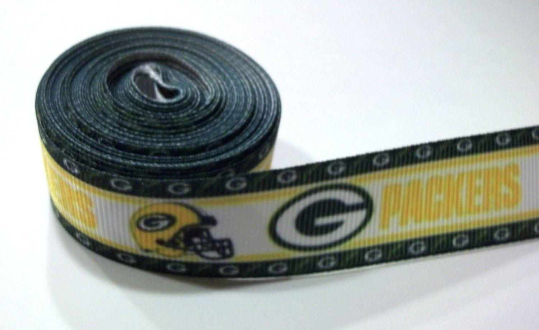 "PINK Green Bay Packers 7//8/""  grosgrain ribbon 5 yards listing"