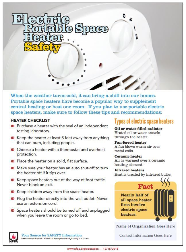 New safety tip sheet on electric portable space heaters