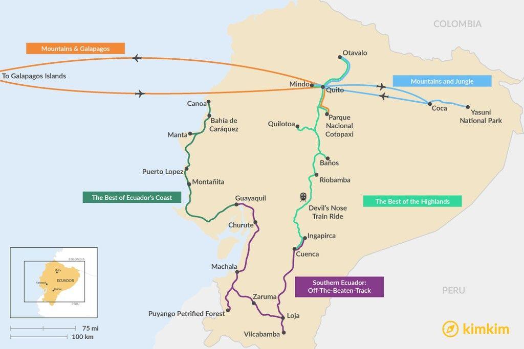 7 Days In Ecuador 5 Unique Itinerary Ideas Ecuador Map