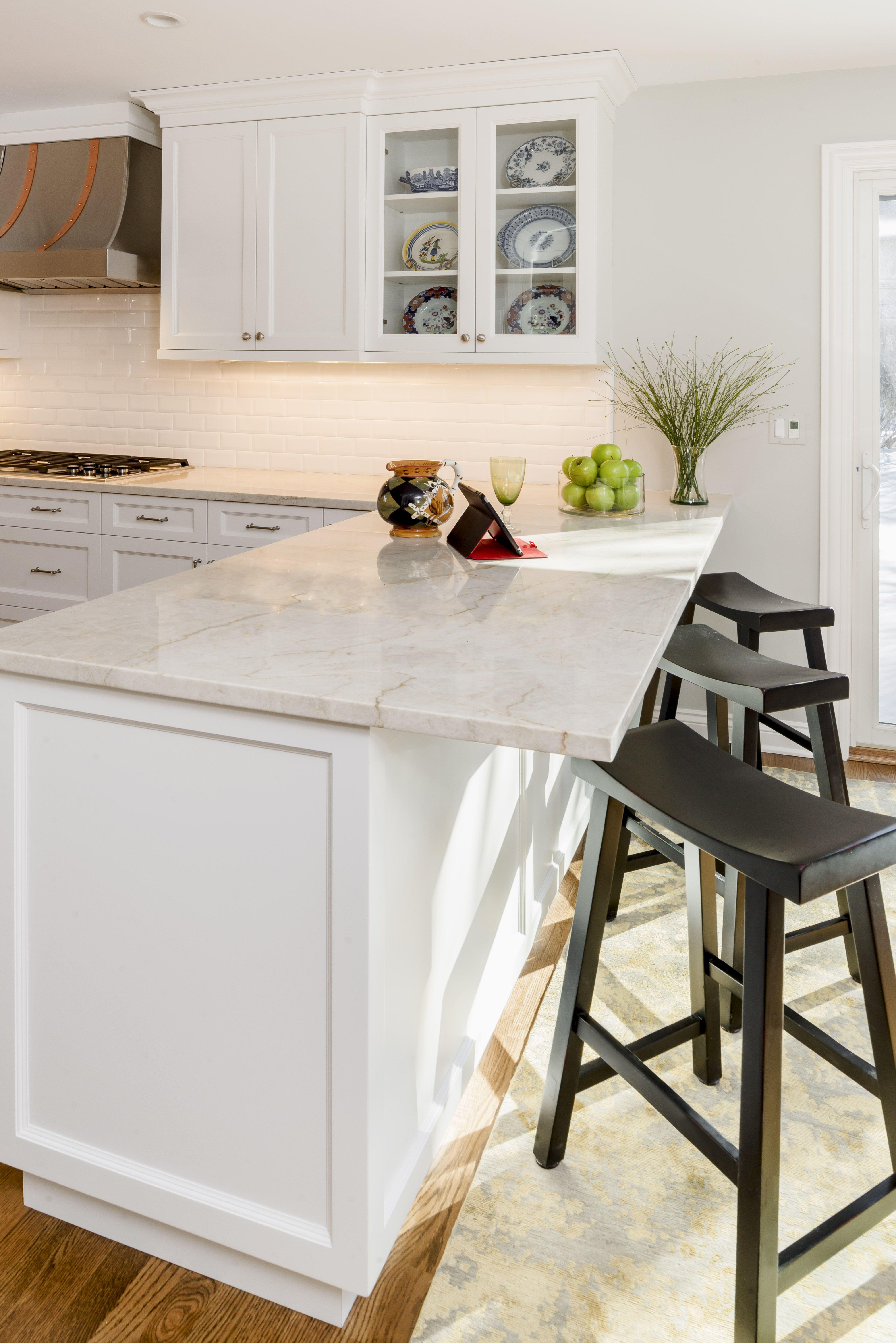 White Kitchen Granite Countertops Stainless Steel Stove