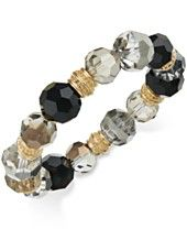 Charter Club Gold-Tone Jet and Gray Stretch Bracelet, Only at Macy's