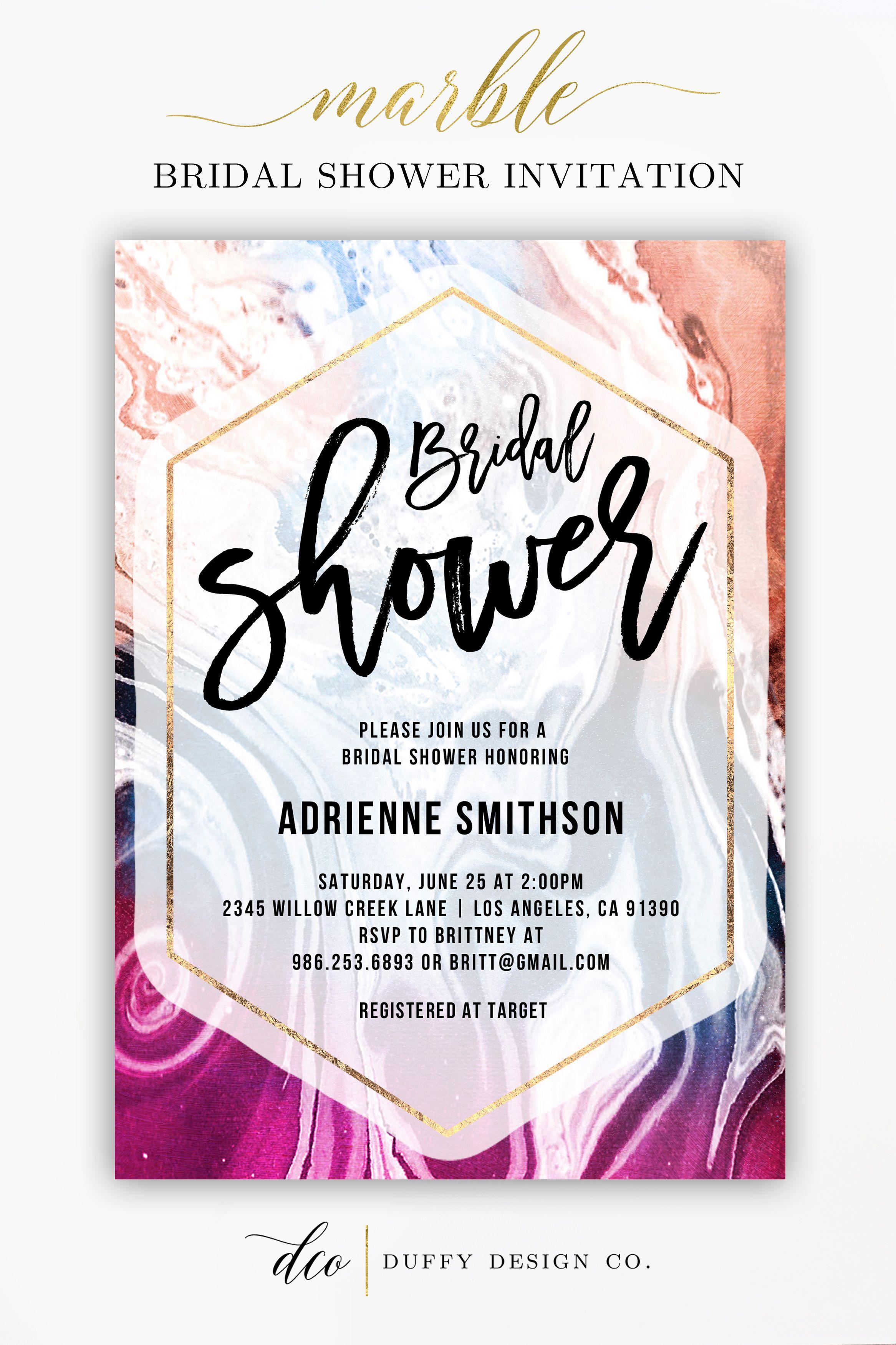 Bridal Shower Invitation, Marble Gold Bridal Shower Invitation ...