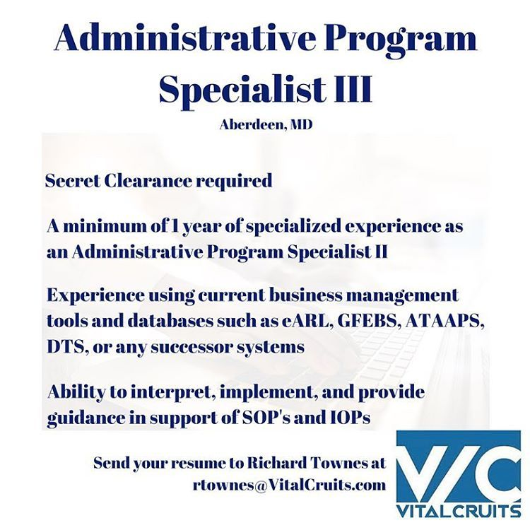 Administrative Program Specialist III opportunity in Aberdeen, MD - program specialist resume