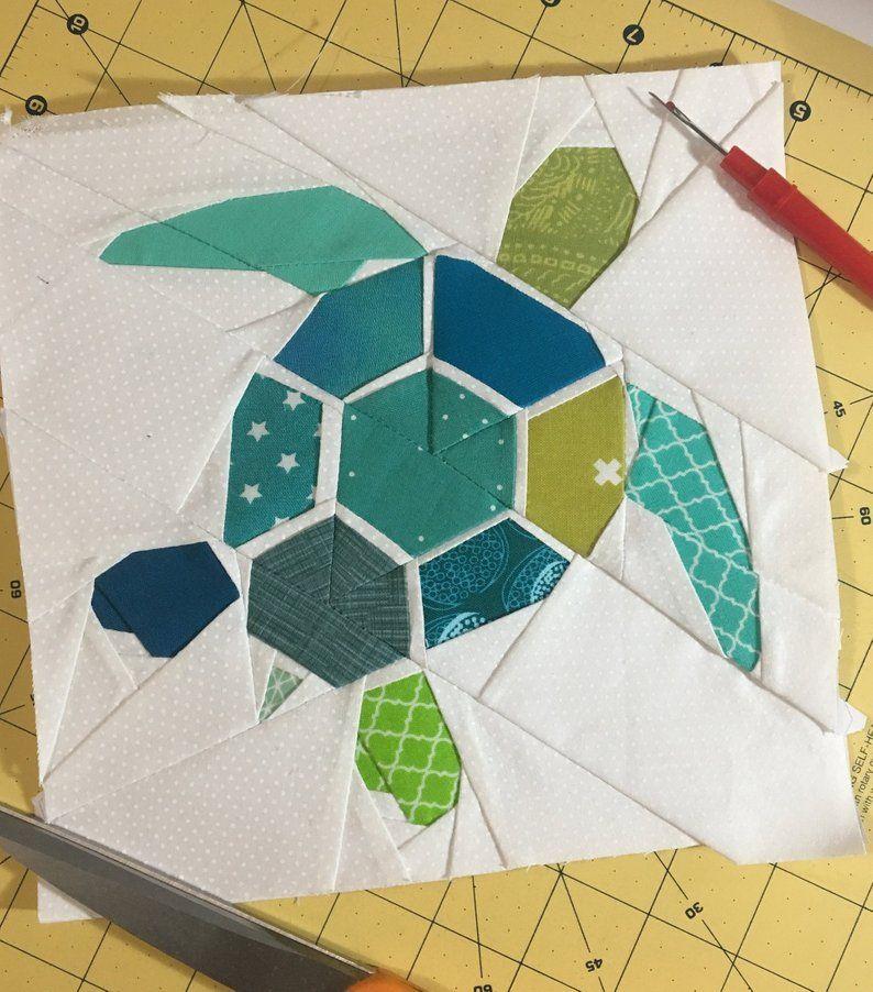 Turtle Swimming Foundation Paper Piecing Pattern Etsy Foundation Paper Piecing Patterns Paper Pieced Quilt Patterns Turtle Quilt