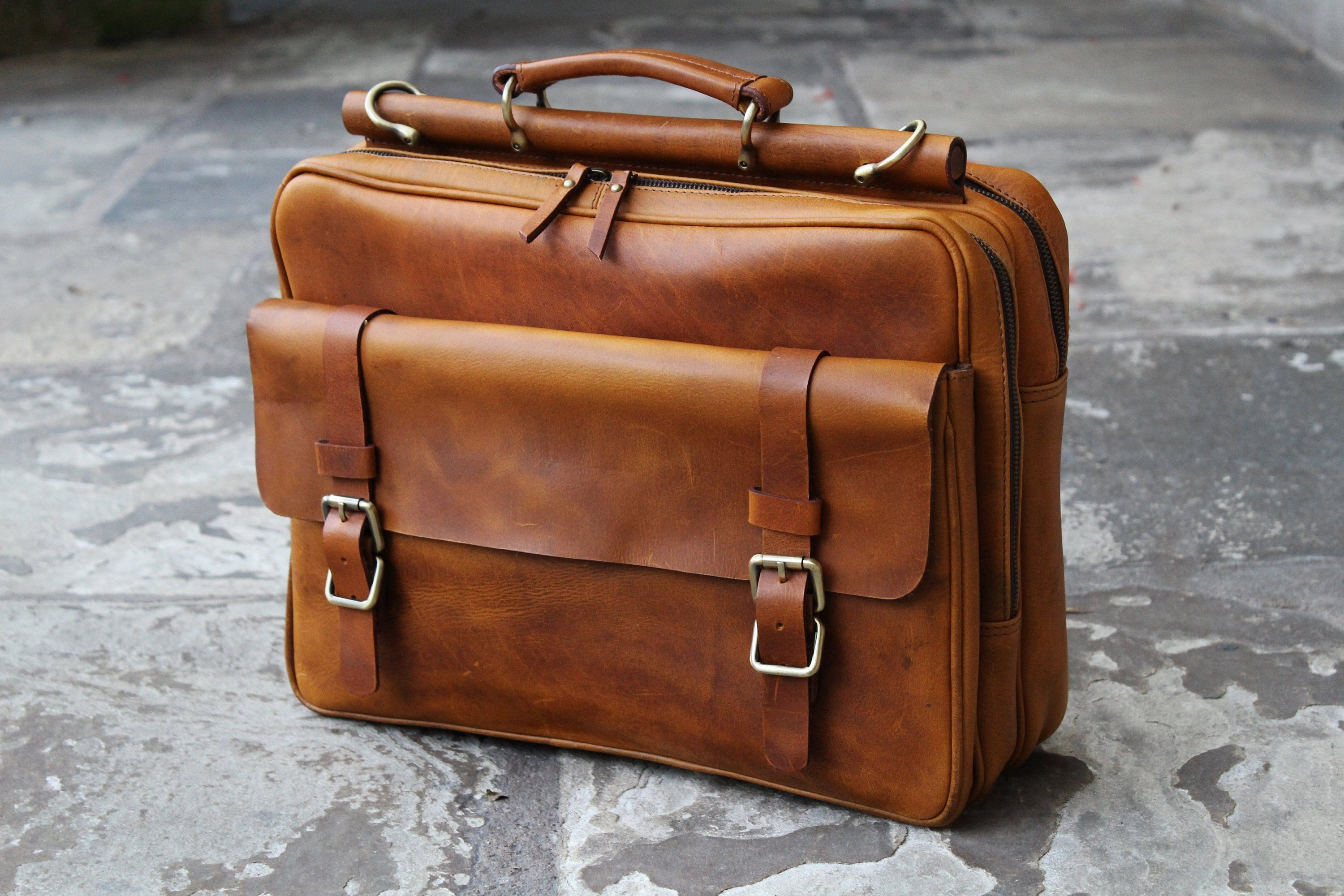506b5b6a4 Personalised Genuine Leather Mens Briefcase Laptop Business Bag ...