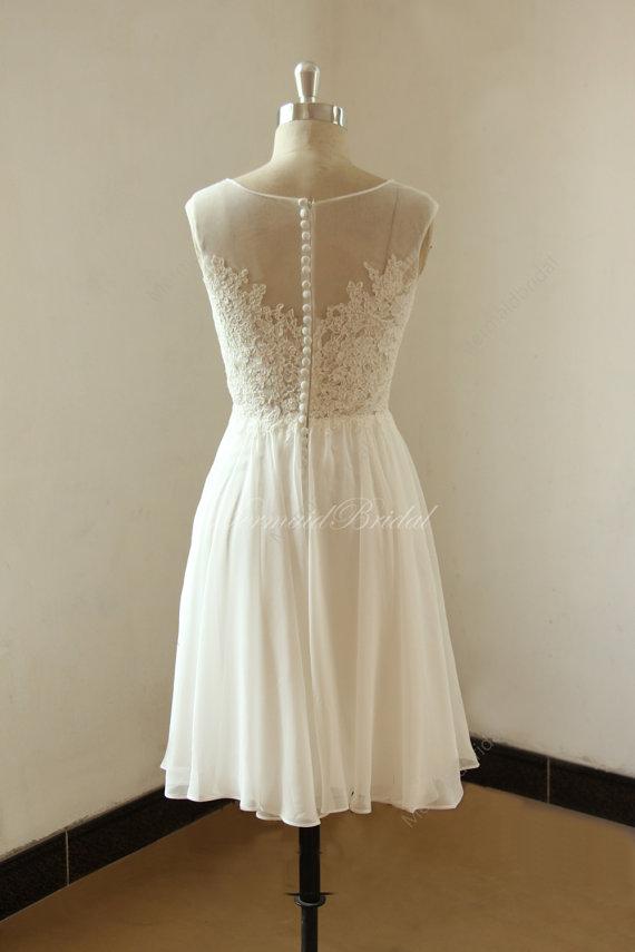Photo of Elfenbein kurz / Knie Länge Spitze chiffon sehen durch Hochzeitskleid mit Illusion neclikine