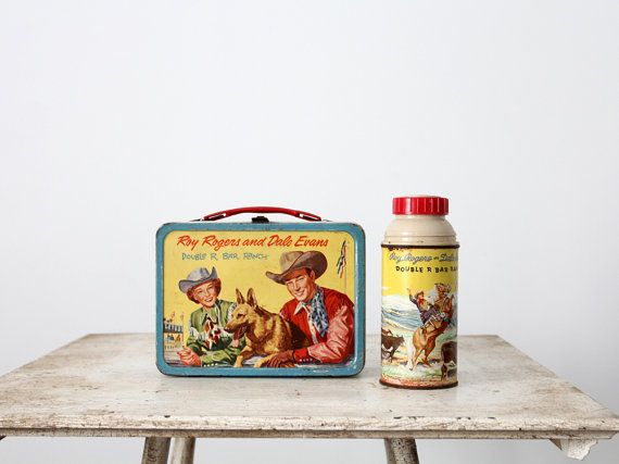 1950s Roy Rogers Dale Evans Lunch Box With Thermos