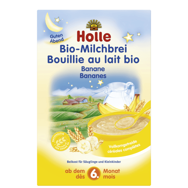 Holle Organic Milk Cereal With Bananas 250g 6 Months Organic Milk Baby Food Pouch Recipes Organic Baby Cereal