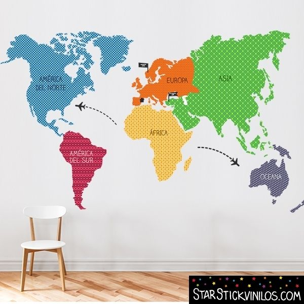 Vinilo mapamundi continentes tonos naranja vinilos - Vinilos mapa mundi ...
