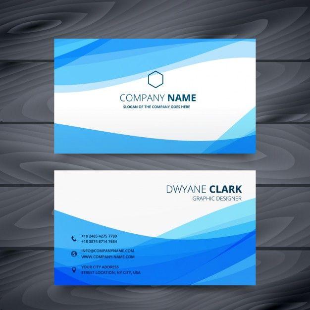 Аннотация визитная карточка с синими волнами Бесплатные векторы - id card psd template