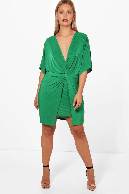 4a1053837b03 Plus Donna Knot Kimono Sleeve Bodycon Dress Bodycon Dress With Sleeves,  Boohoo, Wrap Dress
