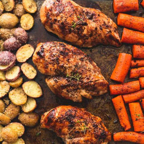 Skillet Chicken With Roasted Potatoes Carrots Recipe: Easy Sheet Pan Balsamic Chicken With Potatoes And Carrots