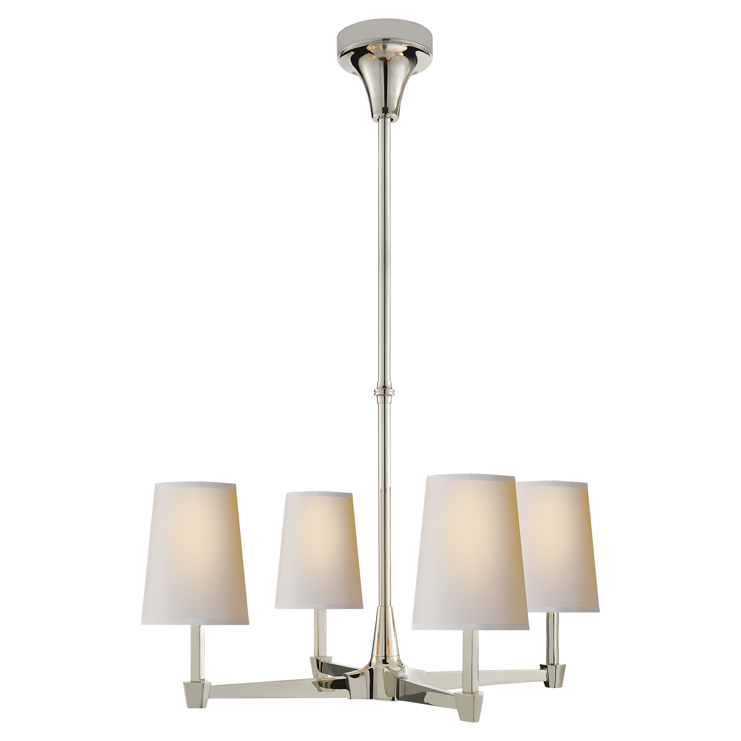 Caron Small Chandelier In Polished Nickel With Natural Paper
