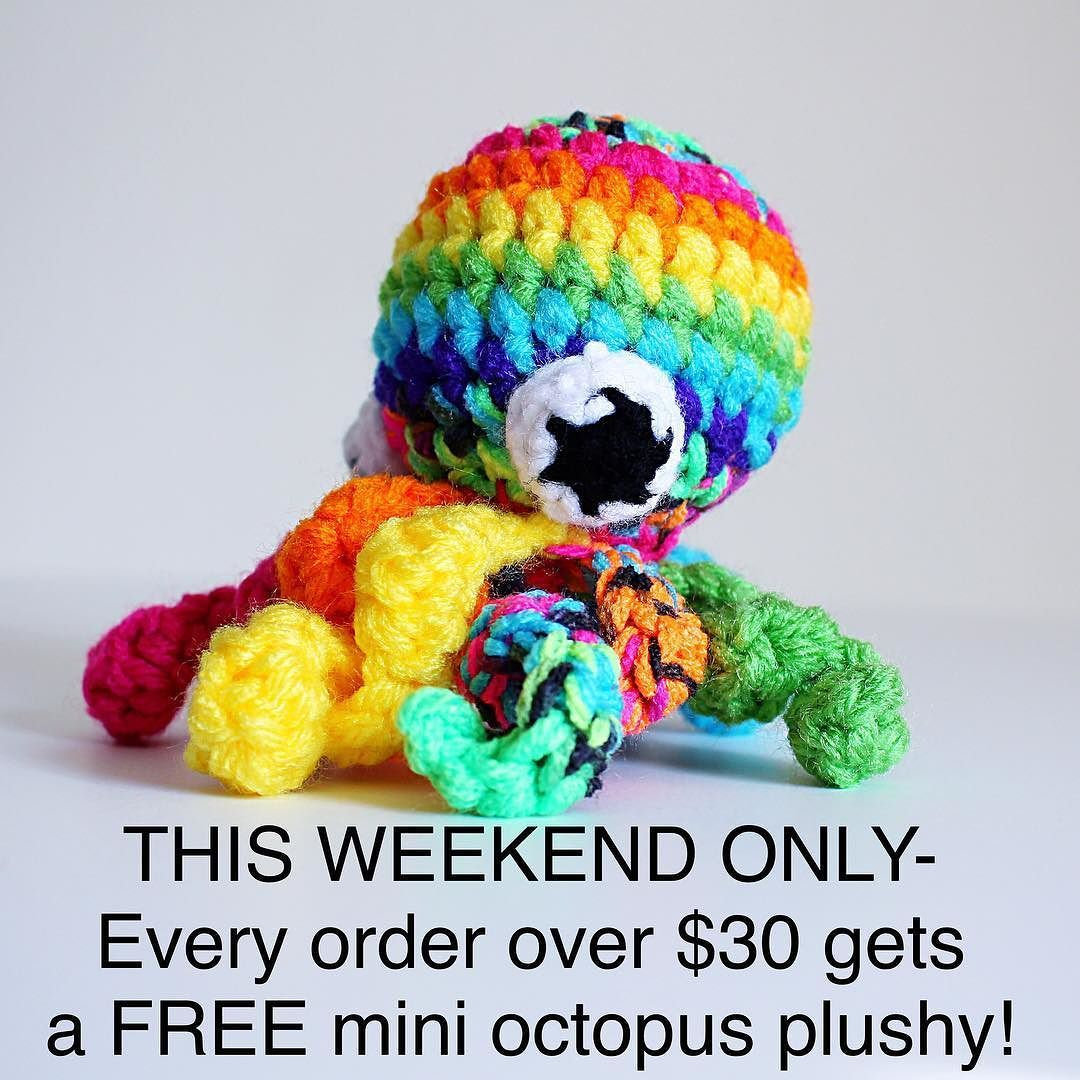 Don't forget about the sale I'm offering this weekend! This would be a great time to pick up one of my new 8 inch donut pillows for only $30 and get yourself a free octopus plushy!  This sale ends Sunday at 11:59 pm. #crochet #crocheted #crochetersofinstagram #crochetconcupiscence #crochetcreations #etsy #etsyfinds #handmadewithjoann #joann #handmadeisbetter #handmade #colorful #rainbow #octopus #kawaii #cute #ohwowyes #shopetsy #shopsmall #shophandmade by olivialawsart