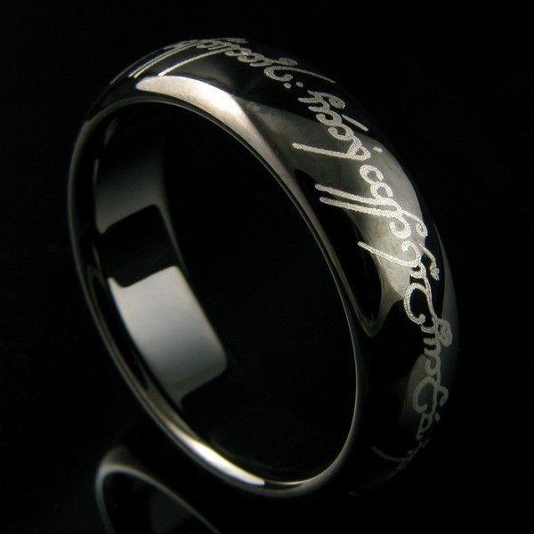 Anel Elfico de Amor e Compromisso Senhor dos Anéis Tungstênio Preto