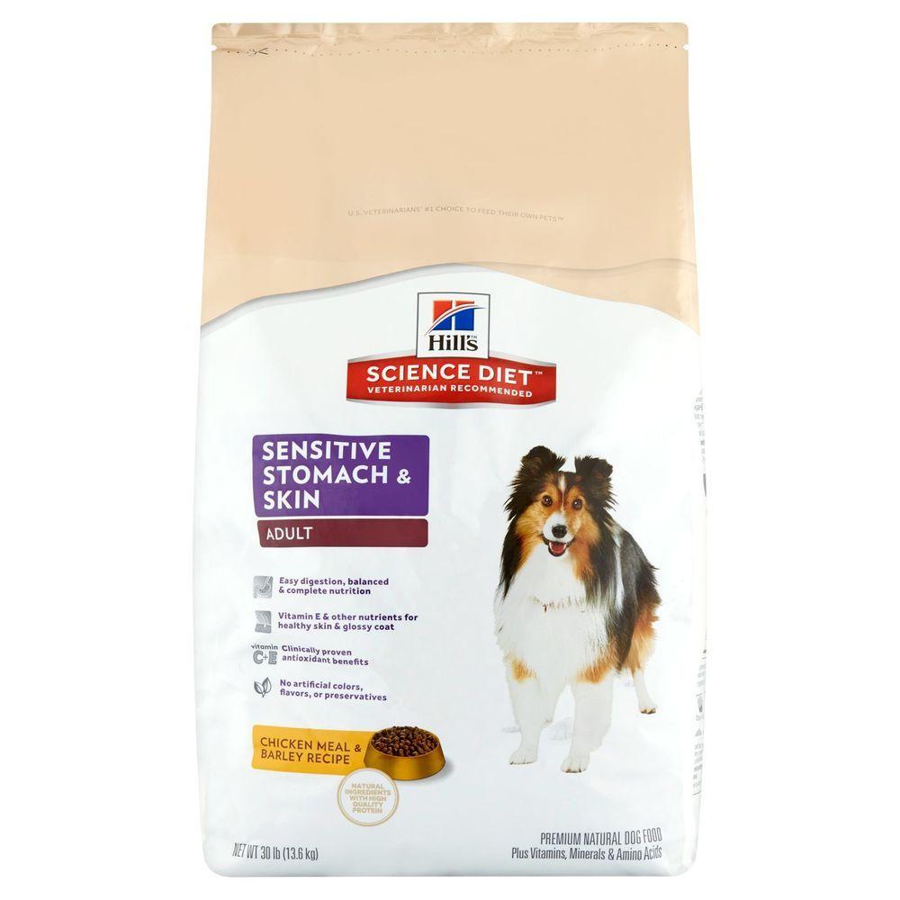 Dry dog food sensitive stomach skin chicken meal barley