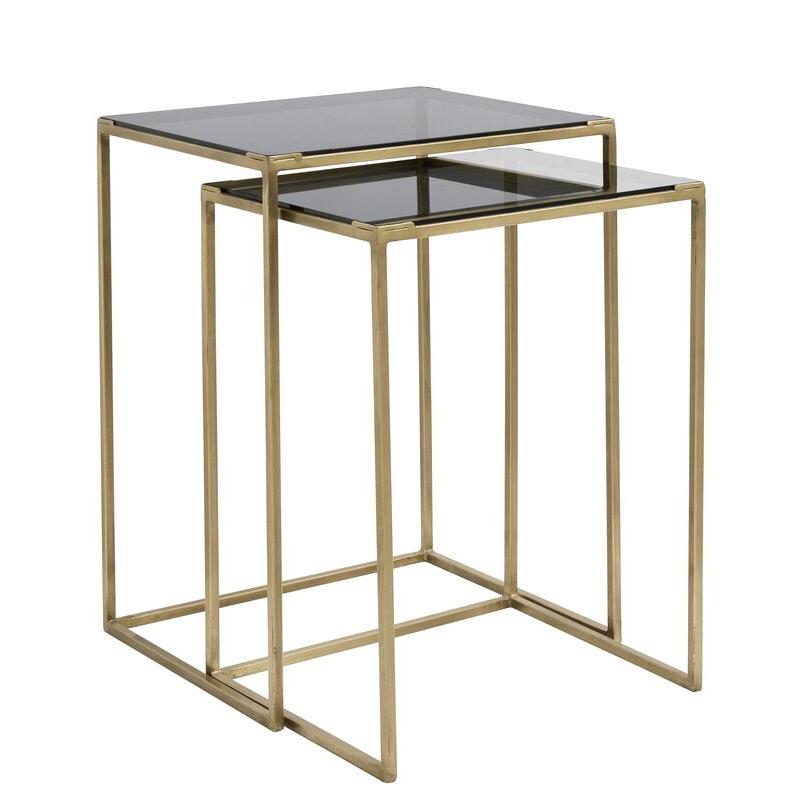 Tables Gigognes Metal Verre Dore Noir Decoration Vintage Salon Nordal Tables Gigognes Decoration Vintage Table De Chevet