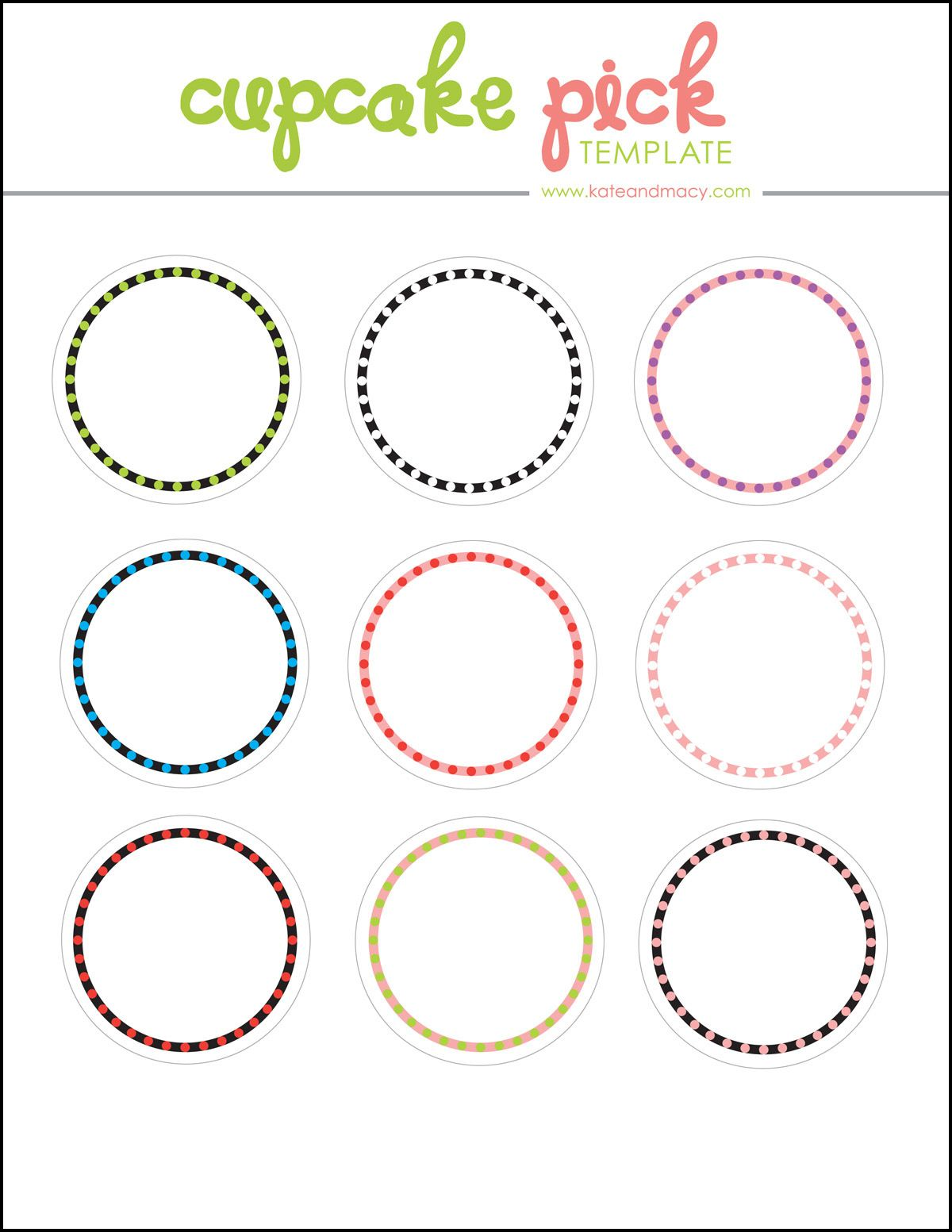KATE Free Digital Cupcake Pick Topper Template