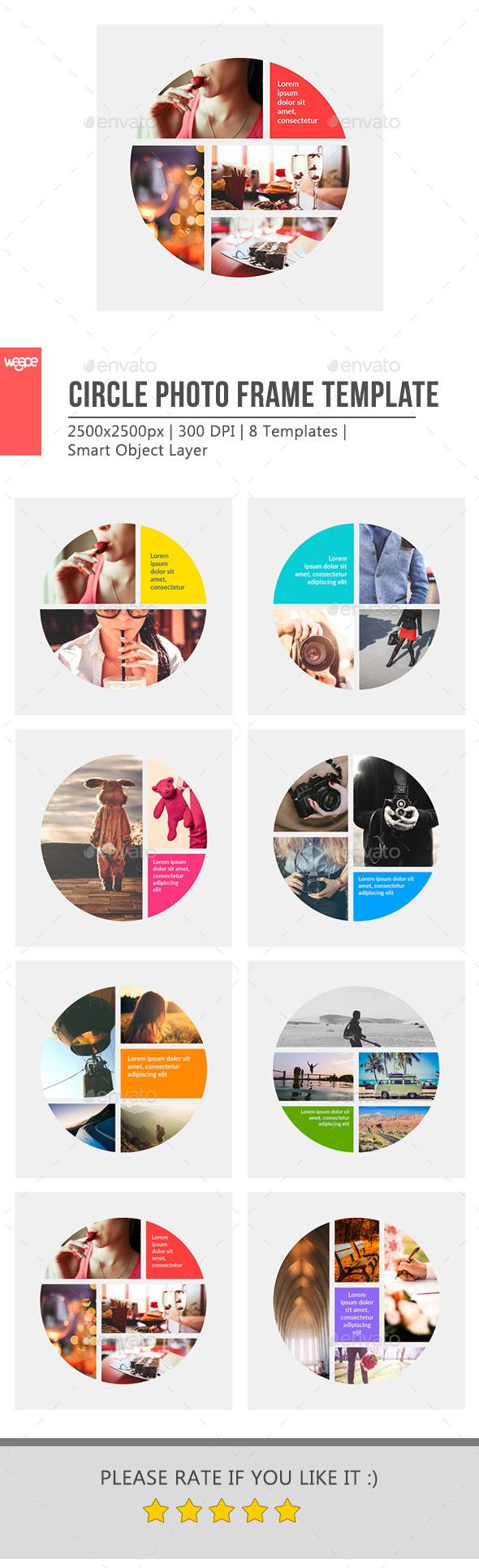 Circle Photo Frame Template | Anuarios, Diseño editorial y Editorial