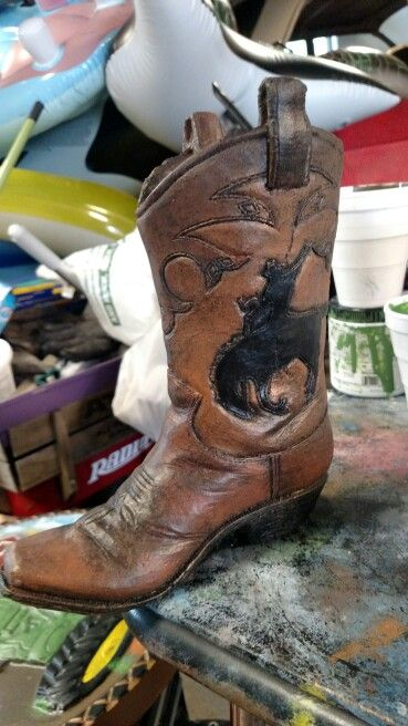 Pin By Dana S Kreations On Cowboy Boot Planter Concrete