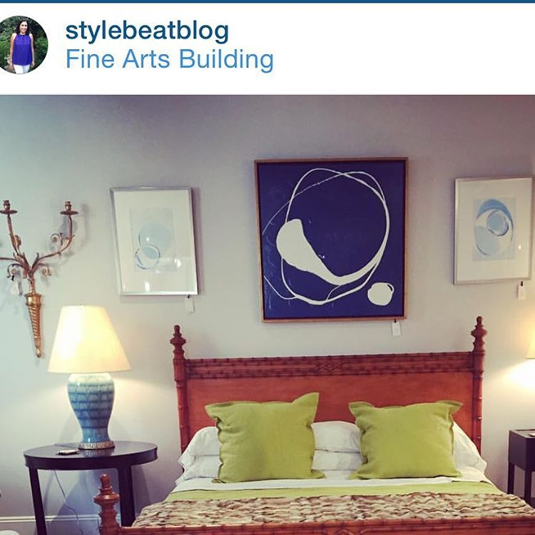 regram courtesy of @stylebeatblog from @bunnywilliamshome showroom. Blue abstract with white