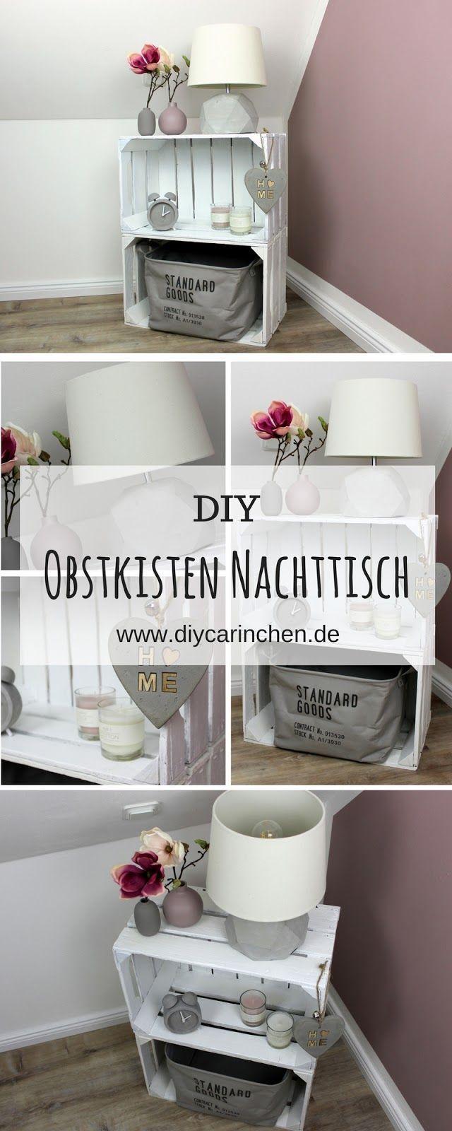 DIY Möbel selber bauen: Nachttisch / Nachtschrank aus Obstkisten #diyfurniture