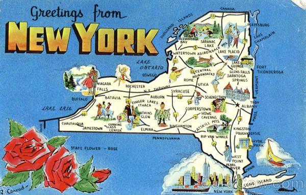 New York Tourist Map Carte Postale Carte Amerique Cartes