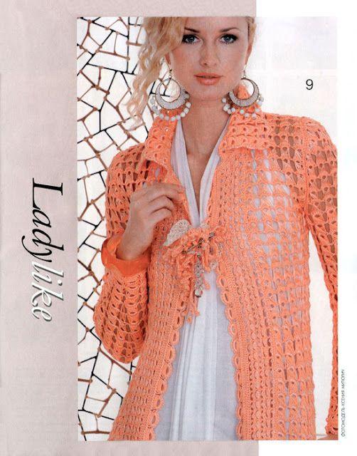 Tejer un Abrigo Primavera con una Regla - Patrones Crochet | блузка ...
