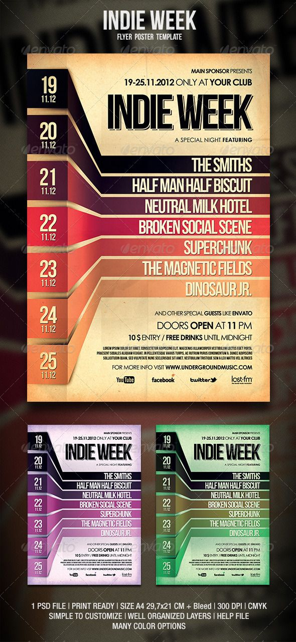Indie Flyer \/ Poster Event calendar, Indie and 3d - event schedule template