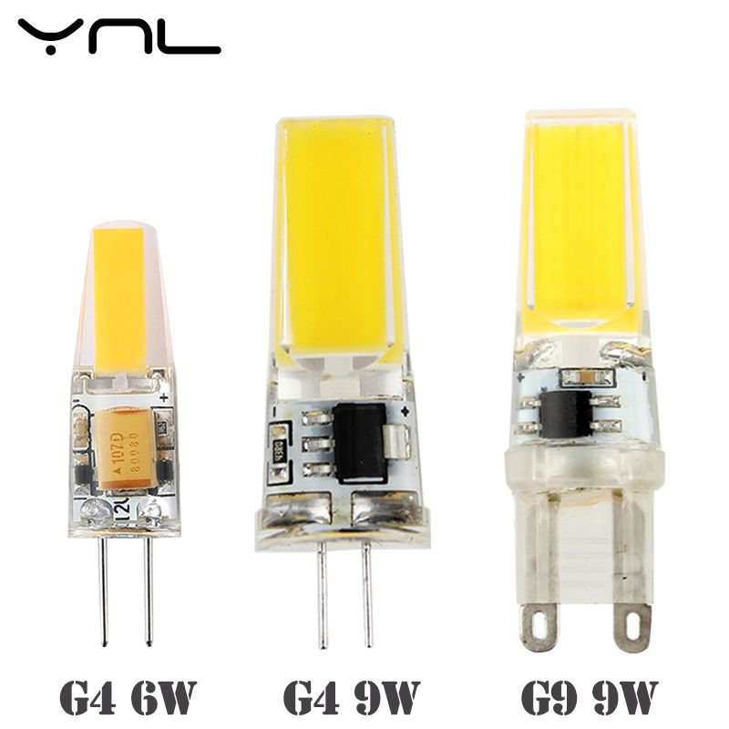 Ynl Dimmable G4 G9 E14 Led Lamp 220v 9w 6w Ac Dc 12v Cob Bombillas Led Bulb Lampada Led G9 G4 Cob Lights Replace Halogen G9 G4 In Led Bulbs Tubes Fr
