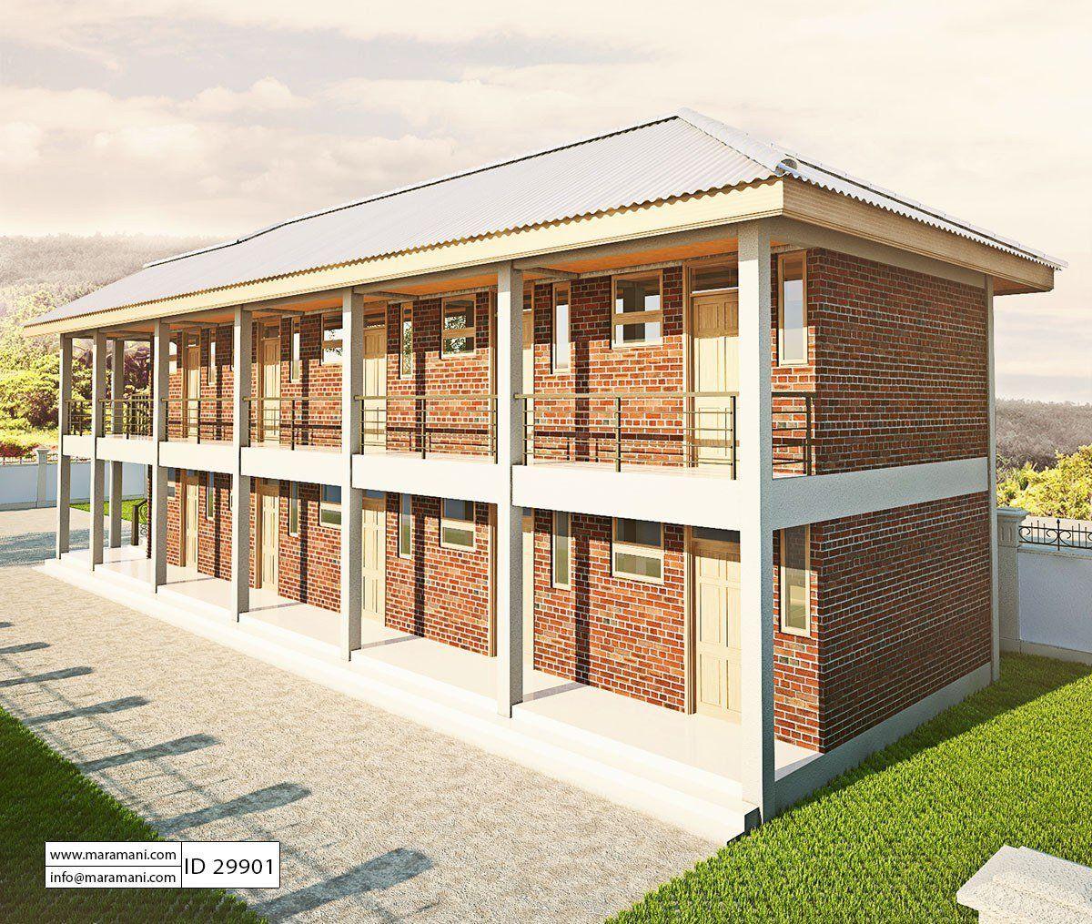 10 Bedroom Hostel Design Id 29901 House Plans By Maramani Hostels Design Small Apartment Building Design Bungalow House Design