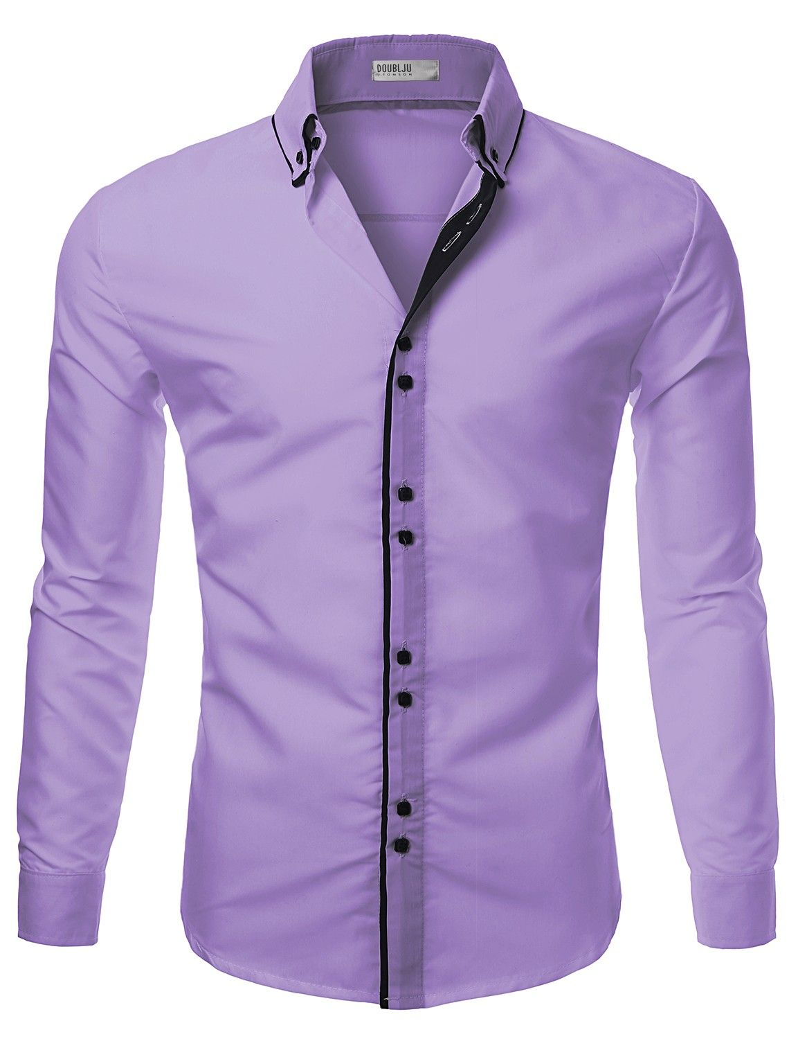 Mens casual slim fit shirts with square button doublju long